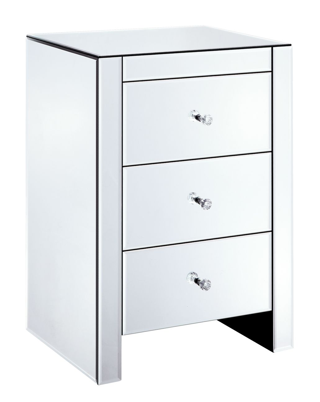 Mirrored Bedside Table With Drawers: MB01BDI Mirrored Bedside Table With 3 Drawers
