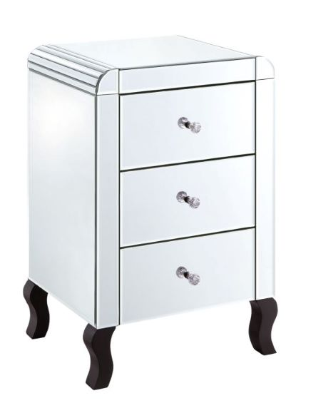 Mirrored Bedside Table With Drawers: MB02BDI Mirrored Bedside Table With 3 Drawers